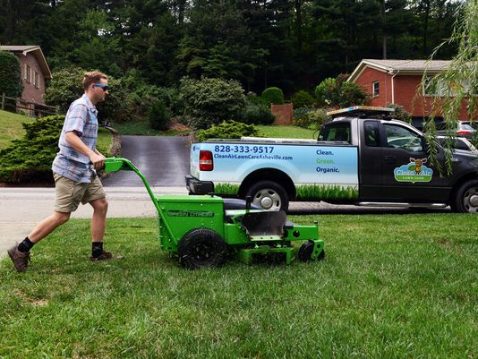 using electric mower on lawn