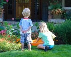 kids playing on organic lawn