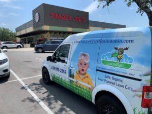 San Antonio organic lawn care van